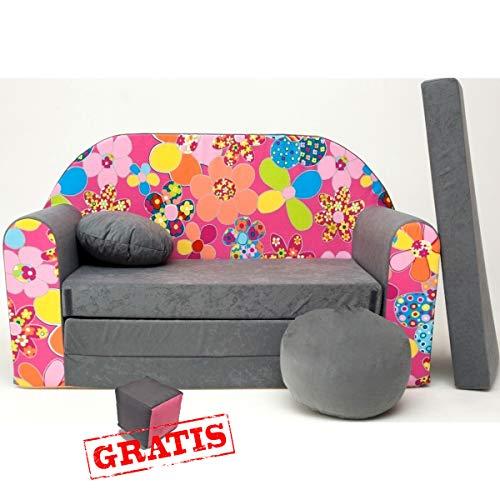 A12 Canapé 3 en 1 pour bébé Minicouch + jouets doux + coussin de chaise (fleurs grises)