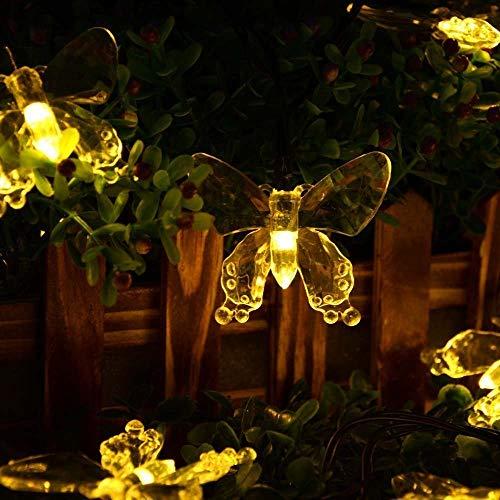 SALCAR 5 Meter Solar LED Lichterkette 20 Schmetterlinge Deko Beleuchtung für Weihnachten, Party, Festen, 2 Leuchtmodi (Warmweiß)