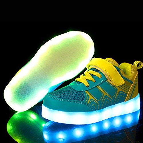 DoGeek LED Schuhe Kinder Damen 7 Farbe USB Aufladen Leuchtend Sportschuhe Led Kinder Farbwechsel Sneaker Turnschuhe für Herren Damen Gelb
