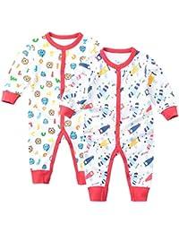 Pijama para Bebé Pack de 2 Niños Niñas Mameluco Manga Larga Pelele Mono Algodón ...