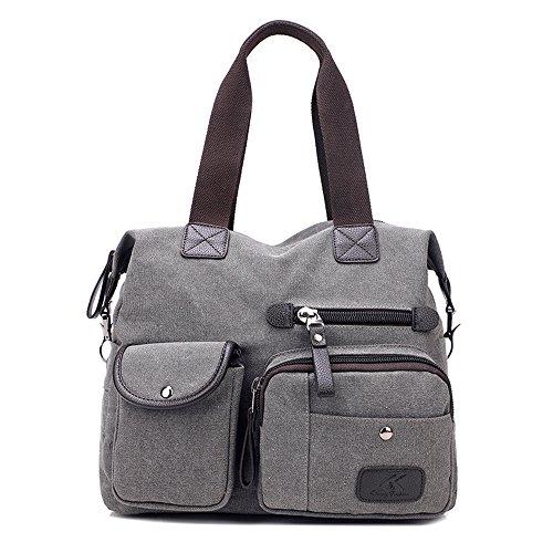 Damen Handtasche, Gindoly Multi Pocket Large Schultertasche Tote Fashion Handtasche Canvas Hobo Bags für Reisen Schule Shopping und Arbeit (Grau) (Pocket Bag 2 Hobo)