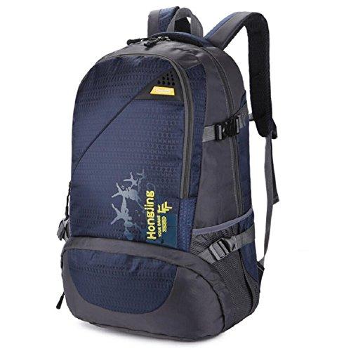 LF&F Backpack 40L GroßE KapazitäT Wasserdichtes Nylon Outdoor-Sport-UmhäNgetasche Reise-Bergsteigen Rucksack Aufbewahrungsbeutel Mehrzweck-Camping Freizeit Reitkoffer GepäCk Tasche C