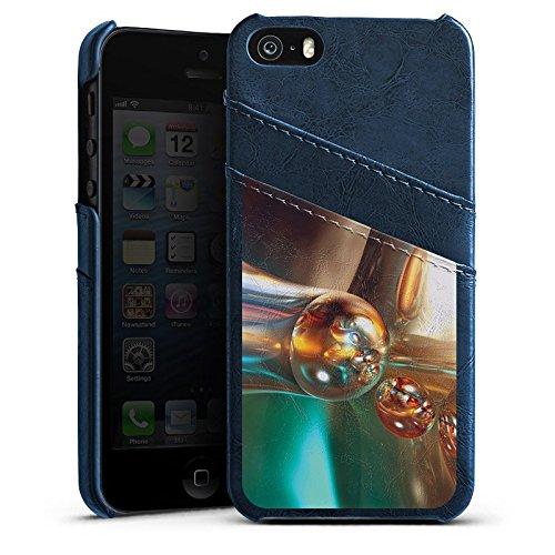 Apple iPhone 4 Housse Étui Silicone Coque Protection Bulles Bulles Chrome Étui en cuir bleu marine
