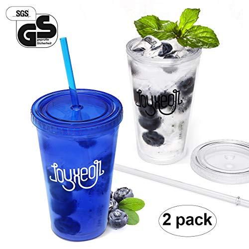 Joyxeon bicchieri in plastica bicchiere smoothie con coperchio e cannucce in plastica da 450ml trasparente - set da 2 pezzi (blu)
