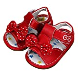 Koly niñita del Bowknot Impreso Sandalias (0-0.5Y, Rojo)