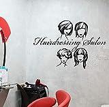 Coiffures Design Sticker Mural Coiffure Salon De Coiffure Logo Coupes De Cheveux Boutique Décoration Intérieure De Mode Femme Vinyle Fenêtre Autocollants 42x62 cm