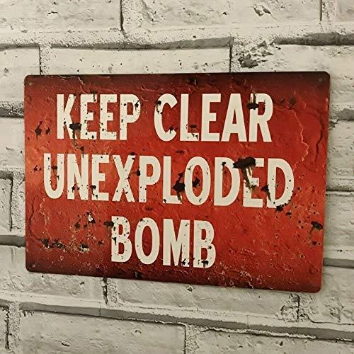 Yilooom Unexploded Bomb Keep Clear Metall-Wandschild World War Ww2 Man Cave Shed Garage 17,8 x 25,4 cm, Metall, Multi, 8 x 12