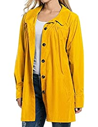 Yying Mujer Coat Chaquetas Moda Ropa con Capucha Impermeable Impermeable Casual Outwear Solid Coats