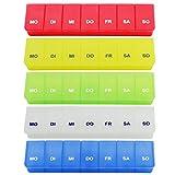 com-four® 5X Medikamenten-Box in frischen Farben, Aufbewahrung für 7 Tage (05 Stück - bunt)