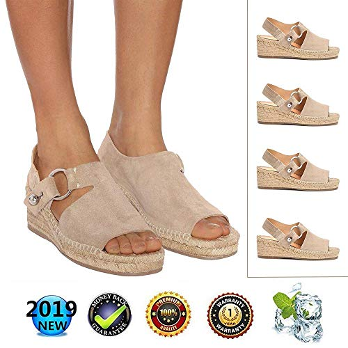 sandals Retro WedgesPeep Toe Women Buckle Ankle Strappy for Ladies Summer Fashion Flat Lace Up 6 cm High Heels Leather Slingback Platform Shoes Casual Comfy Espadrilles Beige Strappy Open Toe Wedges