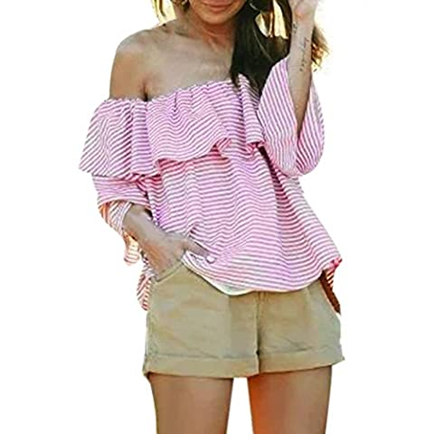 MIOIM -Blouse Chemise Casual Rayure Ruffle Encolure Rose Cool Col