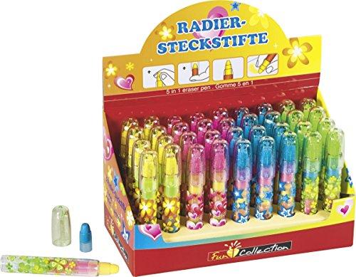 Brunnen 102988701 Radiergummi Steckstift Fun Collection, 5 verschiedene Farben)