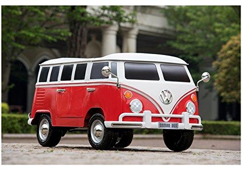 Elektro Kinderauto Elektrisch Ride On Kinderfahrzeug Elektroauto Fernbedienung - Volkswagen TRANSPORTER T1 - Rot