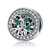 Círculo verde claro Cubic Zirconia Regalos de Navidad familia árbol de la vida Plata De Ley 925Charms Beads Fit European pulsera joyas
