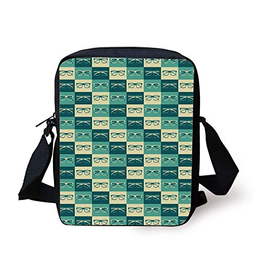 Indie,Pattern with Eyeglasses in Vintage Style Hipster Cool Collection Decorative,Petrol Blue Turquoise Cream Print Kids Crossbody Messenger Bag Purse
