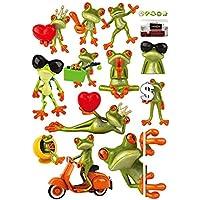 TOOGOO(R)La historieta divertida chistosa de la rana grande extraible ojo Pared Pegatinas