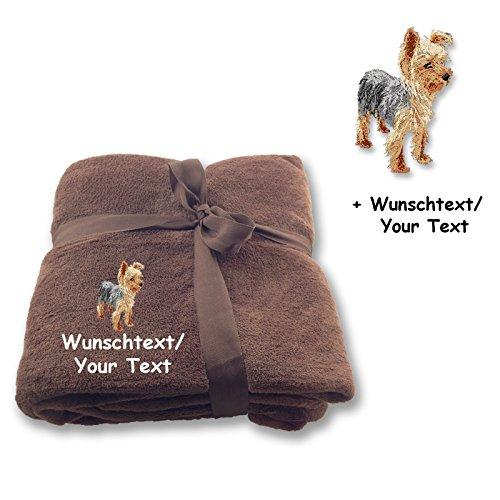 Generic Personalisierbare Kuscheldecke Yorkshire Terrier M2 + Wunschtext (Braun)