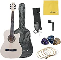 Vault 38C 38 inch Cutaway Acoustic Guitar with Picks, Bag, Strings, Strap and String winder