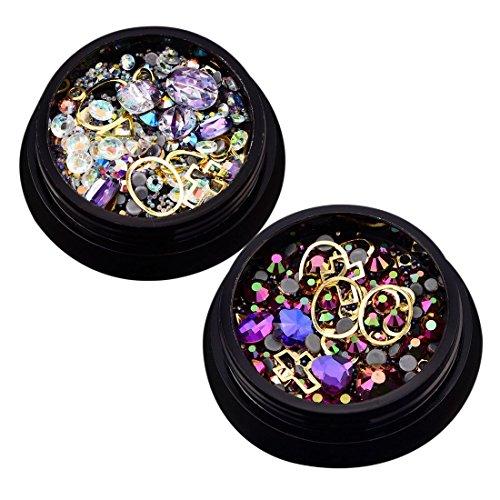 TOOGOO 2 Boites 3D Bijoux a ongles Pointe acrylique melangee coloree Diamant plat Bijou Pierre Ongle Strass Manucure Bricolage Decoration d'art d'ongle (Violet bleu, violet clair 1 chacun)
