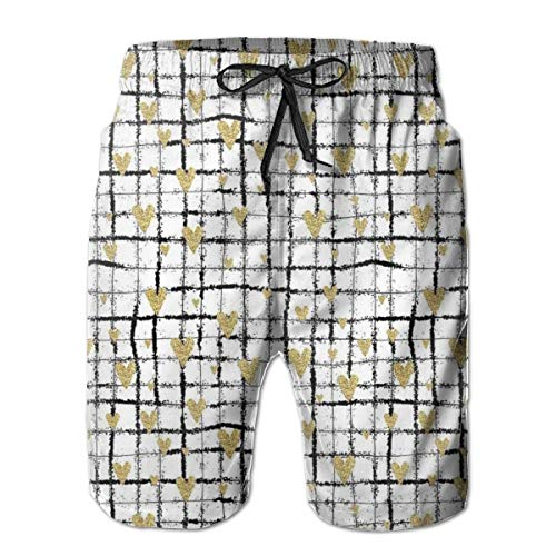 Men Swim Trunks Beach Shorts,Romantic Pattern of Sprayed Paint of Black Grid with Attached Hearts XL -