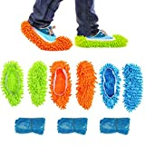 KATOOM 3 Paires Chaussons Nettoyage en Microfibre Chaussure Balai Multifonction Mop Slipers Avec Couvre-chaussures Jetables Pour Nettoyer Plancher Fenêtre