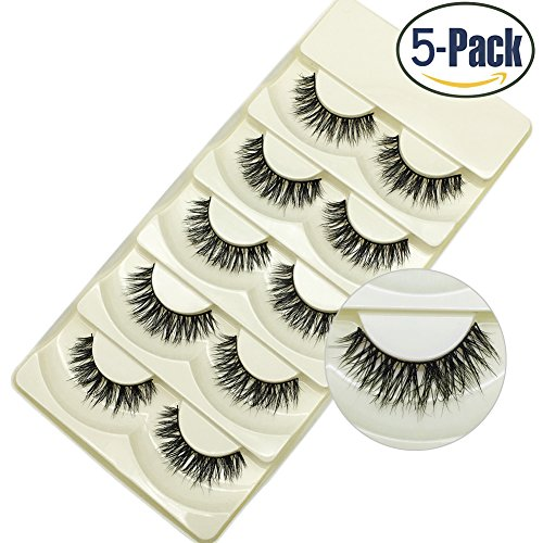 Faux Mink Lashes 3D Natural Handmade False Eyelashes Pack of 5 Pairs (Overlapping)