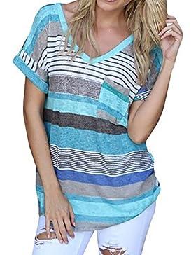 Women's V-neck Casual Short Sleeve T-shirt Blouse Tees Tops