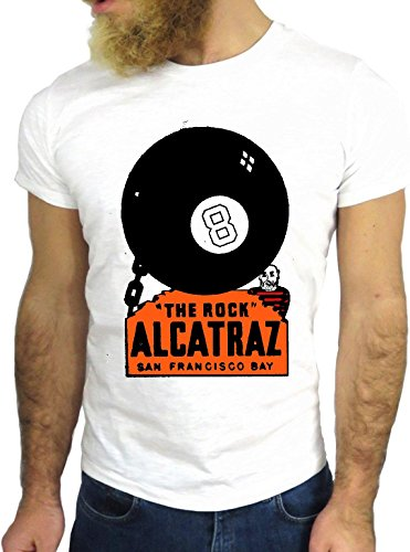 T-SHIRT JODE GGG24 HZ0553 ALCATRAZ COOL VINTAGE ROCK FUNNY FASHION CARTOON NICE AMERICA BIANCA - WHITE
