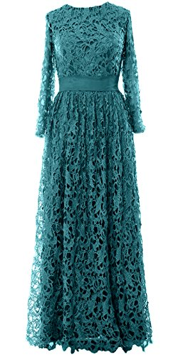 MACloth Women Long Sleeve Lace Long Mother of Bride Dress Formal Evening Gown Teal