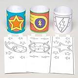 Bracciali da Polso Supereroi Stellari per Bambini da Colorare, Creare, Personalizzare e Indossare - Kit di Creazioni Fai Da Te per Bambini (Confezione da 12).