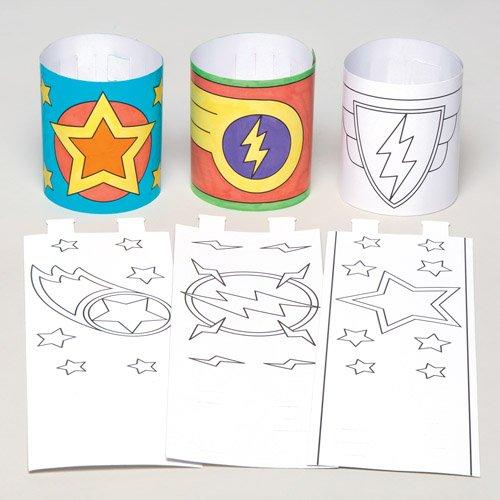 Baker Ross Superhelden-Armbänder für Kinder zum Ausmalen, Basteln und Tragen - Kreatives Bastelset für Kinder (12 Stück) (Für Kinder Basteln Superhelden)