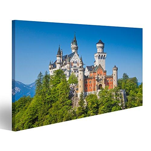islandburner Bild Bilder auf Leinwand Schöne Aussicht auf das weltberühmte Schloss Neuschwanstein Wandbild Leinwandbild Poster DYB (Neuschwanstein Poster Schloss)