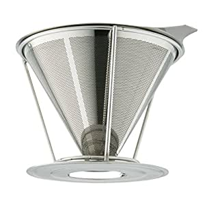 Stainless Steel Coffee Dripper By Marvellissimo - Reusable Pour Over Filter Cone With Separate Stand - Best For Large Single Serve Cup (1-4 Cups) - Dishwasher Safe, Paperless Drip Coffee Maker