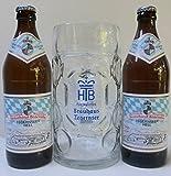 Die Tegernseer Maßkrug Vielfalt mit 2 Flasche Tegernseer Bier Hell 0,5l und 1 Stück Tegernseer Maßkrug 1l