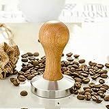 Lin-Tong Edelstahl Kaffee Hammer, Fester Griff Kaffee Tamper Standard Serie mit Fester Pulverpresse Eiche Farbe - 58MM
