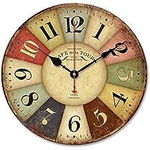 ularma reloj de pared madera de estilo toscano de pas francs colorido vintage