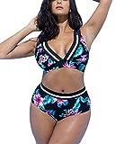 Yonglan Damen Blumendruck Bikini Set Bademode Plus Size Schnürung Hohe Taille Push Up Badebekleidung Zweiteilige Strand Badeanzug Aspicture XXXXL