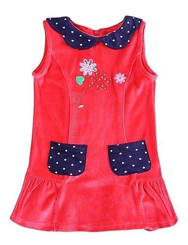 CBIN&HUA vestito collare rotondo senza maniche rosso fiori vestito di