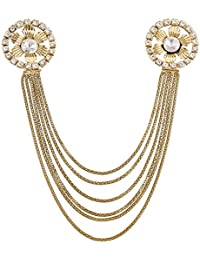 Aadita Ethnic Traditional Gold Plated Pearl Saree Brooch For Women And Girls - B07DNZN5TZ
