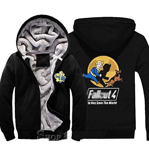 Xcoser Alltags Tragen Kapuzenpullover Spiel Cosplay Verdicken Sweatshirt Samt Baumwolle Mantel Kostüm Verrücktes Kleid (Fallout Cosplay Kostüm)