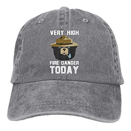 Adult Denim Cotton Baseball Hat Cap Cotton Adjustable Hats Unisex Smokey Bear 'Fire Danger Very High Today' Polo Style
