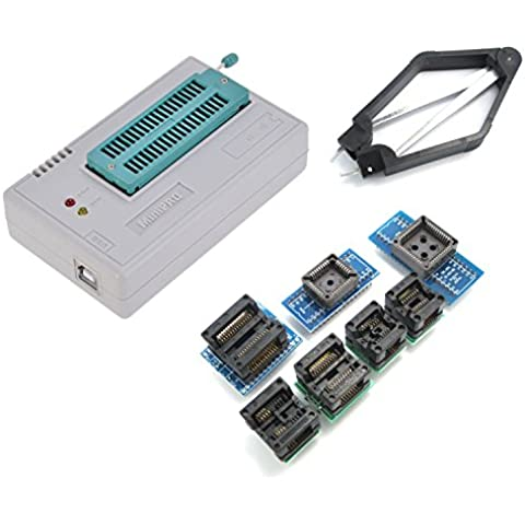 WINGONEER TL866CS universal USB MiniPro EEPROM FLASH BIOS programador AVR GAL PIC SPI Con 7pcs Adaptadores y extractor de CI Compatible con Windows
