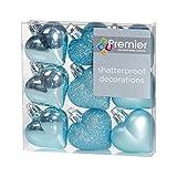 Premier Decorazioni di Natale 9 Confezione da 40 mm Multi Finitura Palline Cuore - Ice Blue