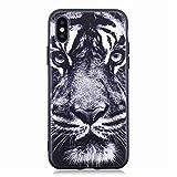 Chreey Coque iPhone X, Noir Anti-Rayures 3D Motif Téléphone Case Coque Arrière en Silicone Souple TPU Housse de Protection, Tigre