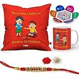 "Indigifts Rakhi Gifts For Brother Bhaiya Rakhi Song Quote Printed Gift Set Of Cus 12""x12"" With Filler, Mug 330 Ml, Crystal Rakhi For Brother, Roli, Chawal & Greeting Card - Rakshabandhan Gifts For Brother, Rakhi For Brother With Gifts, Raksh"