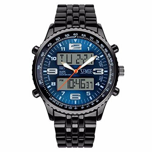 ZEMGE Hombres Reloj De Cuarzo AnalóGico Cronógrafo Fecha Digital deportes Unisex Business impermeable negro multifunción DW Boss ZS0602