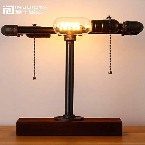Injuicy Lighting Vintage Edison Steampunk Wrought Iron Metal Table Lamp Lights Retro Industrial Wooden Base E27 Desk Accent Lamps for Bedside Bedroom Bar Cafe