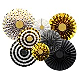 Theme My Party Golden Silver Birthday Decoration Fan / Fiesta Hanging Paper Fans Decorations / Wedding Decoration Photo Prop (Set of 8)