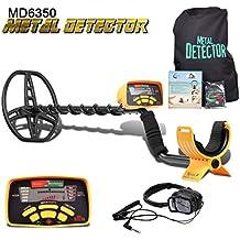 SHUOGOU MD-6350 Detector de Metales Profesional de Alta Sensibilidad-Treasure Hunter Resistente al agua Bobina de Pantalla LCD-Detecta todos los Metales- Ajustable Tallo