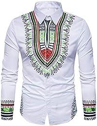 Yvelands Camisa de impresión Africana Manera Casual Jersey de impresión de Manga Larga Camiseta Top Blusa